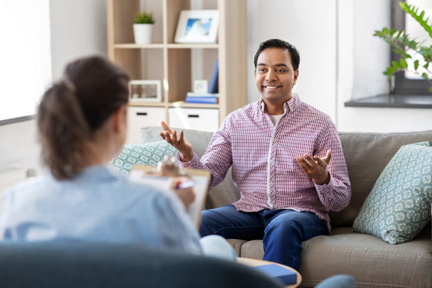 man beginning a cognitive behavioral therapy program