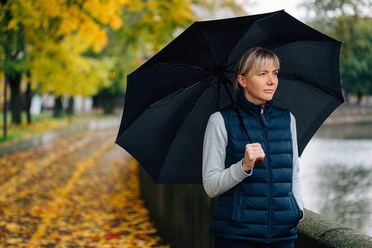 woman outside in rain dealing with seasonal depression