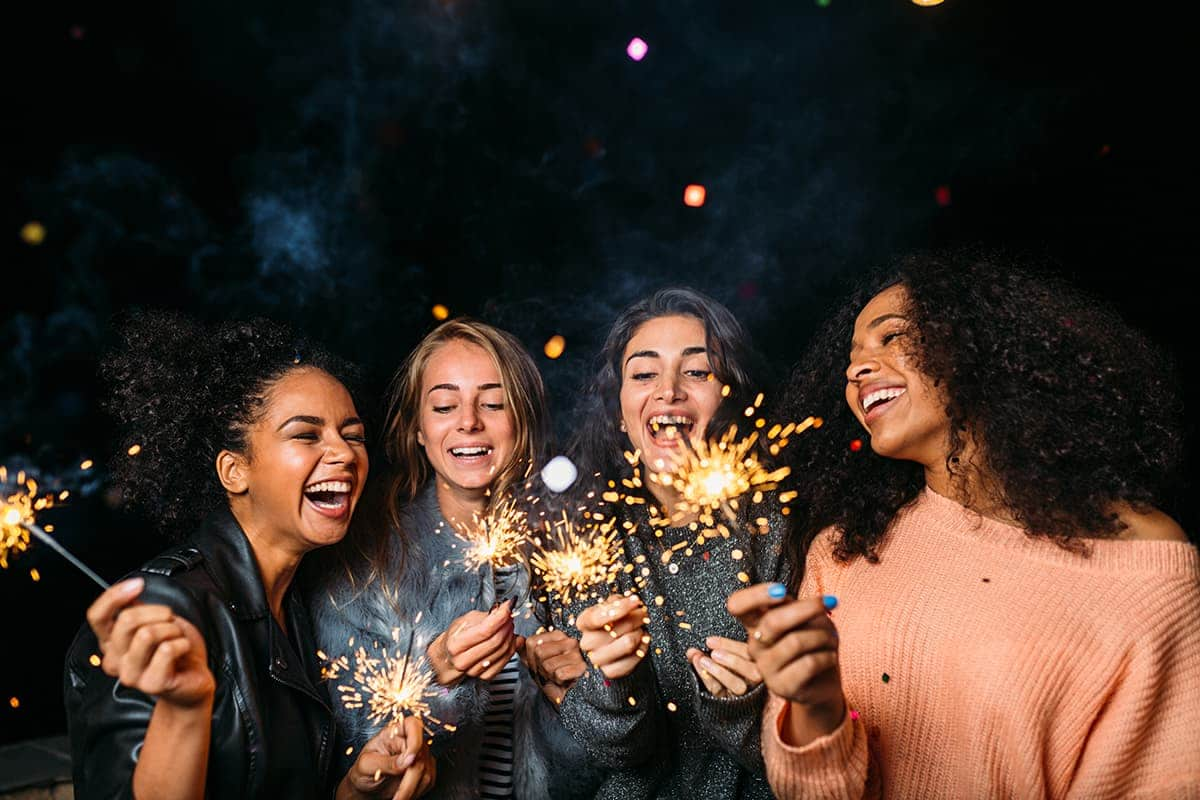 women celebrating first night